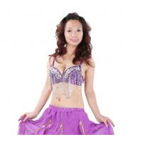 Quality Sexy Purple Belly Dancing Bra Tops With Beaded Tassel For Girls / Women 34 / 36B for sale