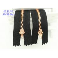 Quality Semi Auto Lock Metal Open Ended Zips , Antique Copper Teeth Double Ended Zips For Coats for sale