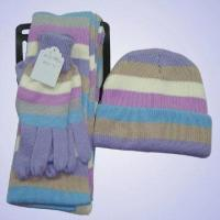 Quality 100 percent Acrylic Knitted Hat, Gloves and Scarf Set for sale