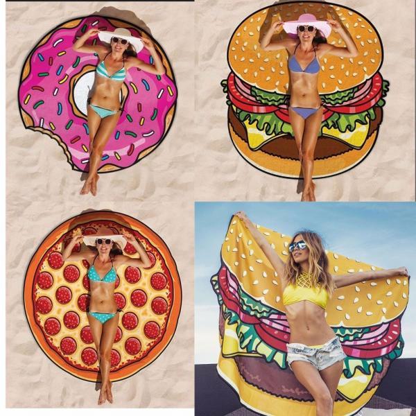 Buy Women Beach Cover Up Pareo Pizza Creative Shape Beach Mat Swimwear Cartoon Cloak mats Summer Saida De Praia at wholesale prices