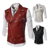 China Red Waterproof Side Zipper Mens Leather Biker Vest For Winter Trendy Design on sale