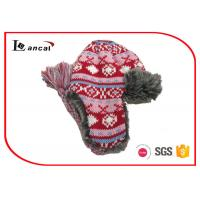 Quality Jacquard Girls Winter Trapper Hat With Red Polar Fleece And Faux Fur Lining for sale