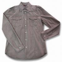 Quality Men's Long Sleeve Embroidered Casual Shirt, Made of 100% Cotton for sale