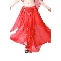 Quality Light and colorful chiffon fabric  diy belly dance skirt with coins for sale