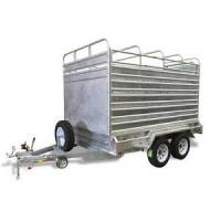 Quality Galvanized Stock Crate 9x5 Tandem Trailer With Cage For Cattle Transport for sale