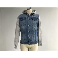 Quality Light Wash Mens Denim Jacket And Jean With Brushed Fleece Sleeves / Detachable Hood for sale