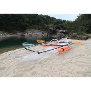 China Clear Ocean Double Fishing Kayak , Plastic Flat Bottom Canoe 450 Pounds Capacity on sale
