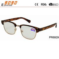 Classic culling plastic reading glasses, fashionable deisgn,pattern on temples