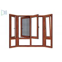 Quality Wooden Color Swing Open style Aluminum Hinged Window With Fly Screen for sale