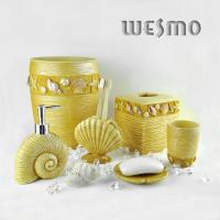 Quality 6 Piece Yellow Color Polyresin Bathroom Set for sale