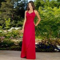 China Bridesmaid Dress/Halter Style Satin Gown with Sweetheart Neckline, Scattered Beading Along Bodice on sale