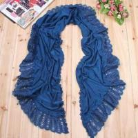 Quality Knitted Moon Scarf, Made of Acrylic Cashmere, with Solid Color and Lace, Customized Colors Welcomed for sale