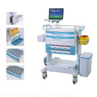 China Luxury Patient Resuscitation Crash Cart Hydraulic Wheels Manual Trolley on sale