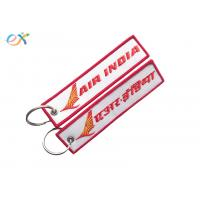 Letter Embroidered KeychainTag Rectangle Shape Twill Background Fabric
