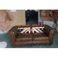 Durable Small 2 Seater Brown Leather Sofa Bed Vintage Union Jack Genuine Love Seat