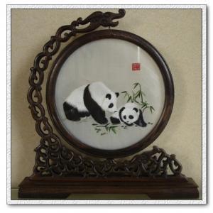 China Panda Sitting in Bamboo-ShuXiu Silk Art 100% Handmade Silk Embroid By Artist fr BBHY on sale