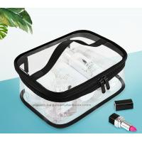 Quality Double Pullers Portable Clear PVC Makeup Bag Zippered Waterproof Cosmetic Bag Transparent Travel Storage Carry On Pouch for sale