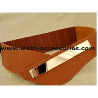 Quality Brown Ladies Elastic Stretch Belts for dresses , 90×7 cm Metal Trim Wide Belts for sale