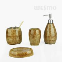 Quality Tridimensional Look Acrylic-like Polyresin Bathroom Set With Golden Flakes (WBP0830A) for sale