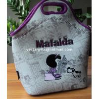 Quality 4.5mm Food Standard Neoprene Lunch Tote With Flocking Pattern For Chrildren for sale
