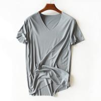China Eco Friendly Blank Bamboo V Neck T Shirts , Oversized Gym T Shirt Comfortable on sale