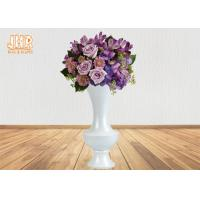 China Wide Mouth Glossy White Fiberglass Planters Floor Vases For Artificial Flowers on sale