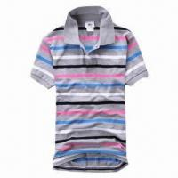 Quality Men's Summer Fashionable Striped Polo Shirt, Two Plastic Buttons in Placket, Rib Cuffs and Collar for sale