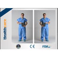 Quality Blue PP / SMS Disposable Protective Gowns Scrub Suit Lightweight S-5XL Size for sale