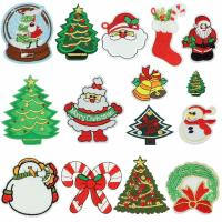 Quality Christmas Iron On Embroidered Sew On Badges Washable With Soft Ultrasonic Cut for sale
