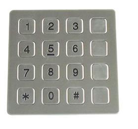 Vandal Resistant Phone Keyboard , Stainless Steel Keypad With 16 Keys