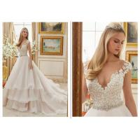 Quality Ivory Ball Gown Wedding Dress , Ruffle Organza Sweetheart Neckline Ball Gown for sale