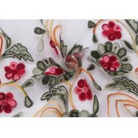 Quality Embroidered Lace Dress Fabric , Corded Lace Fabric Floral Tulle For Dressmaking for sale