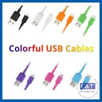 China Colored Micro Smartphone USB Data Transfer Cable Hi-Speed 2-in-1 on sale