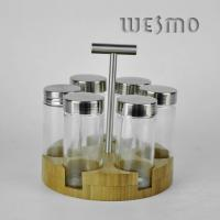 Quality Revolving Bamboo Spice Rack with 6pcs Glass Spice Shakers for sale