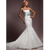 Quality Built-In Bra Strapless Meermaid Lace Beaded Wedding Gowns With Flowers for sale
