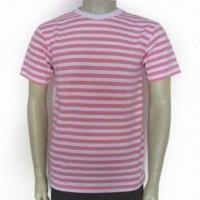 China Men's Round Neck T-shirt, Made of 180gsm 100% Cotton Jersey, Available in White and Pink Stripes on sale