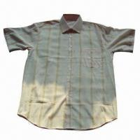 Quality Men's Short-sleeve Y/D Casual Shirt with Stripes or Checks Designs, Available in Various Colors for sale