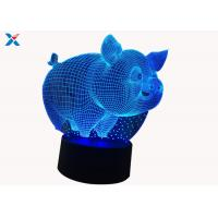 Quality Customized Acrylic Light Guide Panel 7 Colors Change Cartoon 3D Pig Shape LED Night Light for sale