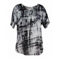 China Leisure Ladies Tee Shirts With Tie Dye Print Fashion Ladies Round Neck Tops on sale