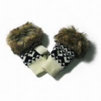 Quality Acrylic Jacquard Knitted Half Finger Gloves, Fake Fur at Cuff, Fleece Lining for sale
