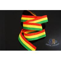 Quality Polyester / Nylon Material Custom Medal Red/Yellow/Green Ribbons With Logo Printable for sale