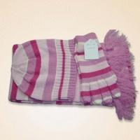 Quality 100 percent Acrylic Knitted Hat, Gloves and Scarf Set with Silver Thread for sale