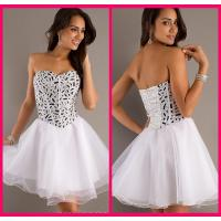 Quality Ball Gown Shot Long Homecoming Dresses White Organza Zipper With Crystal for sale