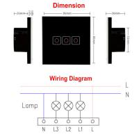 Buy Smart Wall Light Switch, Wirelss Remote 1/2/3 Gang Glass Panel Touch Screen at wholesale prices