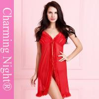 China Front Open Fur Trim Plus Size Mature Womens' Sexy Lingerie Babydoll Nighties on sale