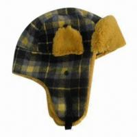China Ladies winter hat, woven fabric and fake fur trapper, made of acrylic, fashionable style on sale