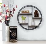 Quality Black Round Metal Shelf, Minimalist Wall Display with 4 shelves, Wall Hanging Storage Rack, for sale