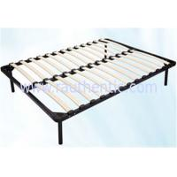 Quality Hot sale 1.5m * 1.8m black metal frame bed with Durable wood slat stable structure for sale