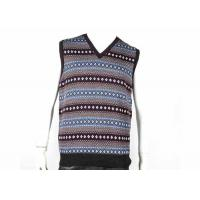 China V Neck Design Fall Mens Cable Knit Sweater Sleeveless Vest In Jacquard Pattern on sale