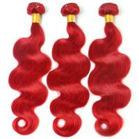 China Red Color Body Wave Brazilian Hair Peruvian Virgin Human Hair 12 to 26 No Shedding on sale
